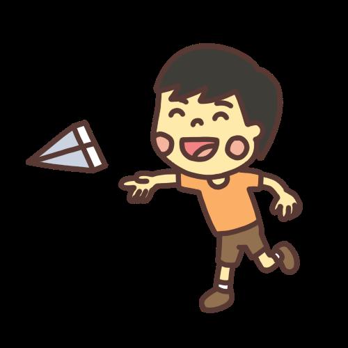 紙飛行機を飛ばして遊ぶ子どものイラストスマイルバージョン