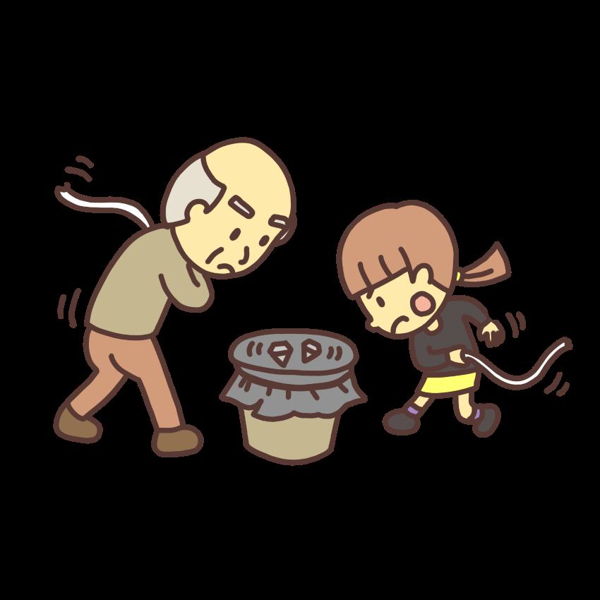 ベーゴマで遊ぶ女の子と大人のイラスト