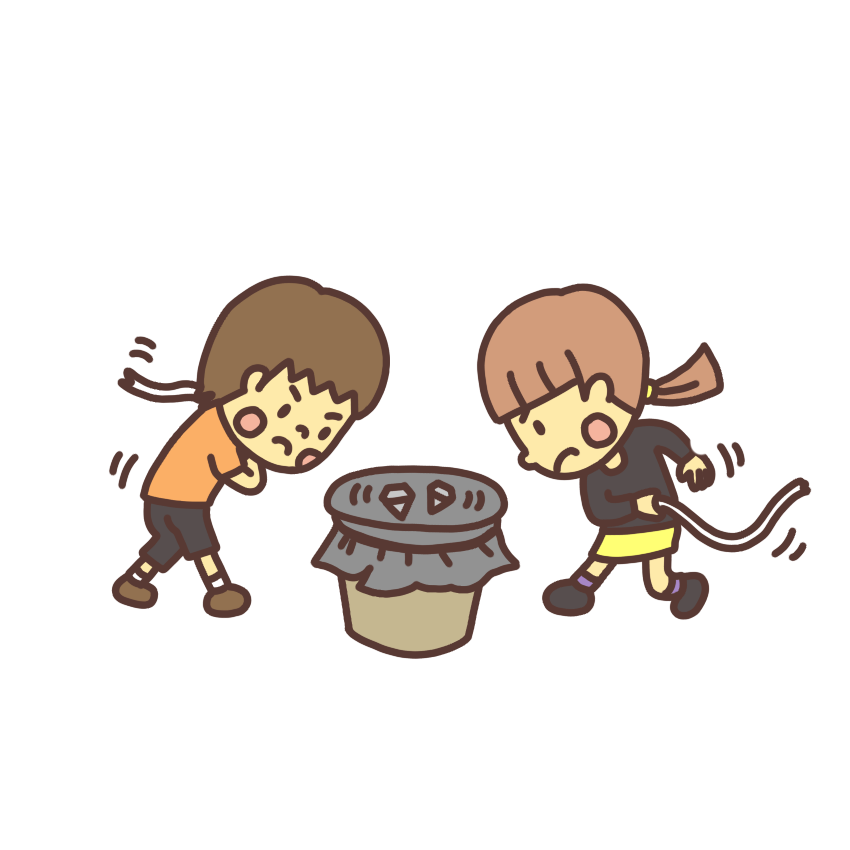 ベーゴマで遊ぶ男の子と女の子のイラスト