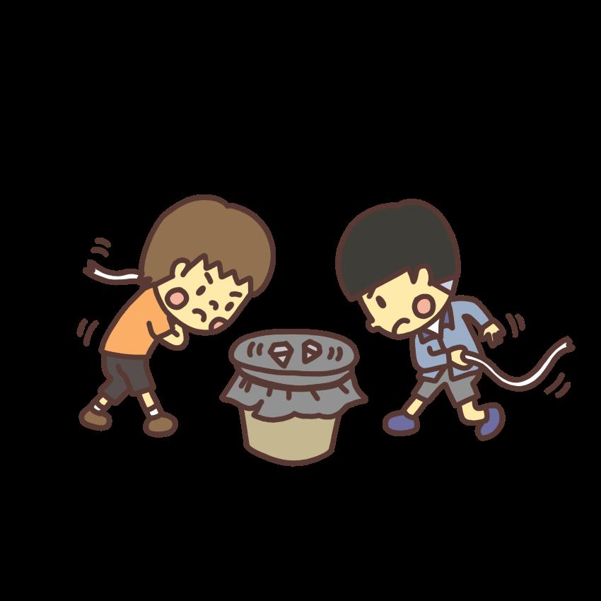 ベーゴマで遊ぶ子どものイラスト