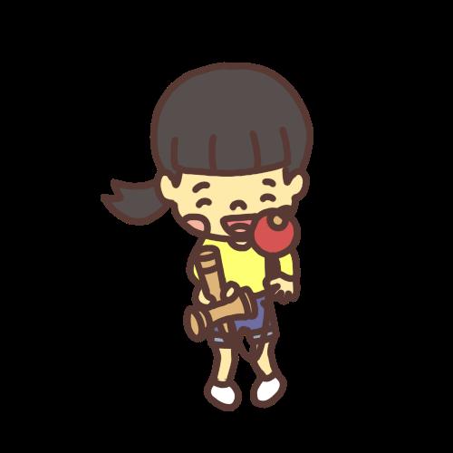 けん玉で遊ぶ女の子のイラストスマイルバージョン
