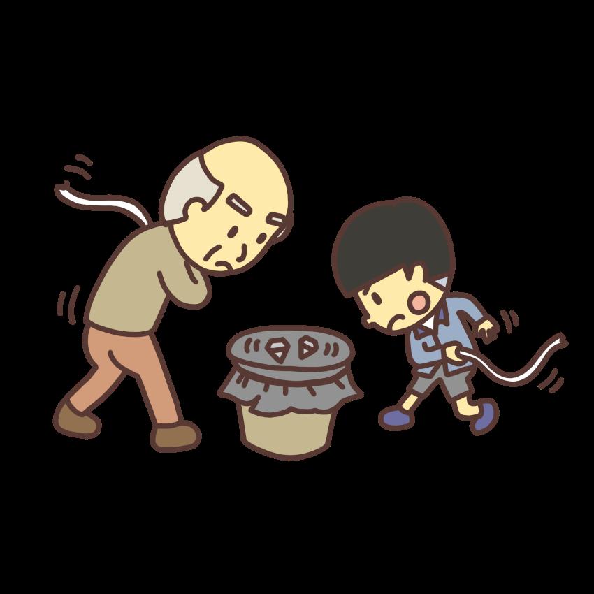 ベーゴマで遊ぶ男の子と大人のイラスト