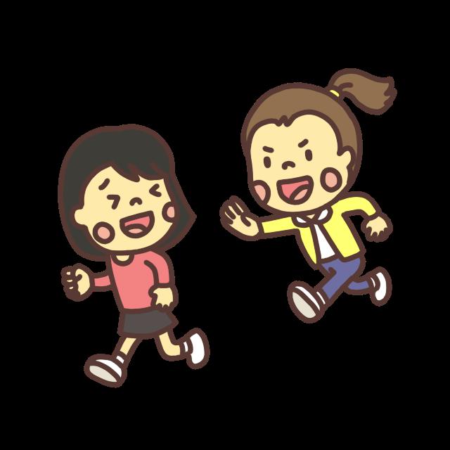 鬼ごっこをして遊ぶ子どものイラスト表情違いバージョン