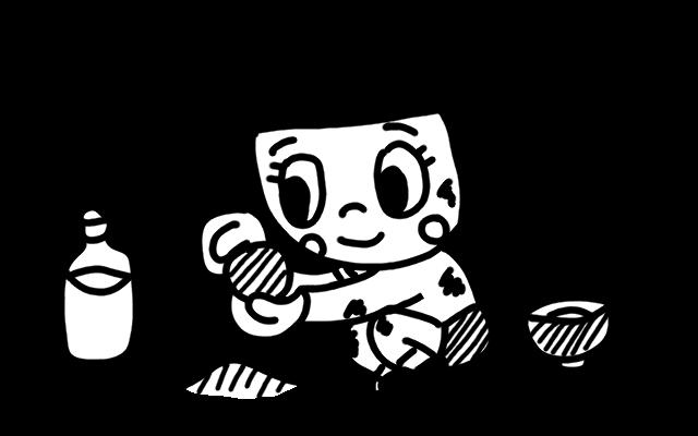 泥だんごを作る子どものイラスト 白黒ヤギさん フリー素材イラスト