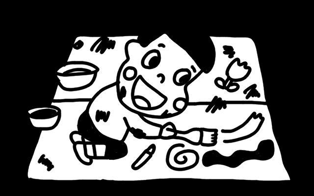 お絵かきをする子どものイラスト