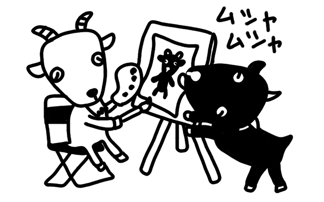 絵を描いているヤギのモノクロイラスト