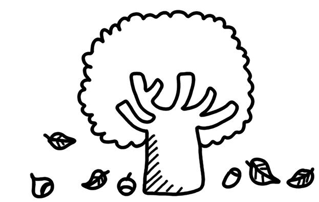 枯れ葉どんぐりのイラスト 白黒ヤギさん フリー素材イラスト