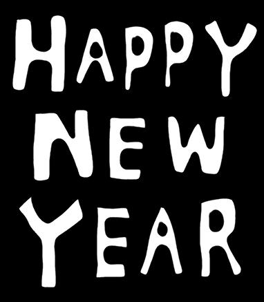 ハッピーニューイヤー Happy New Yearのイラスト 白黒ヤギさん フリー