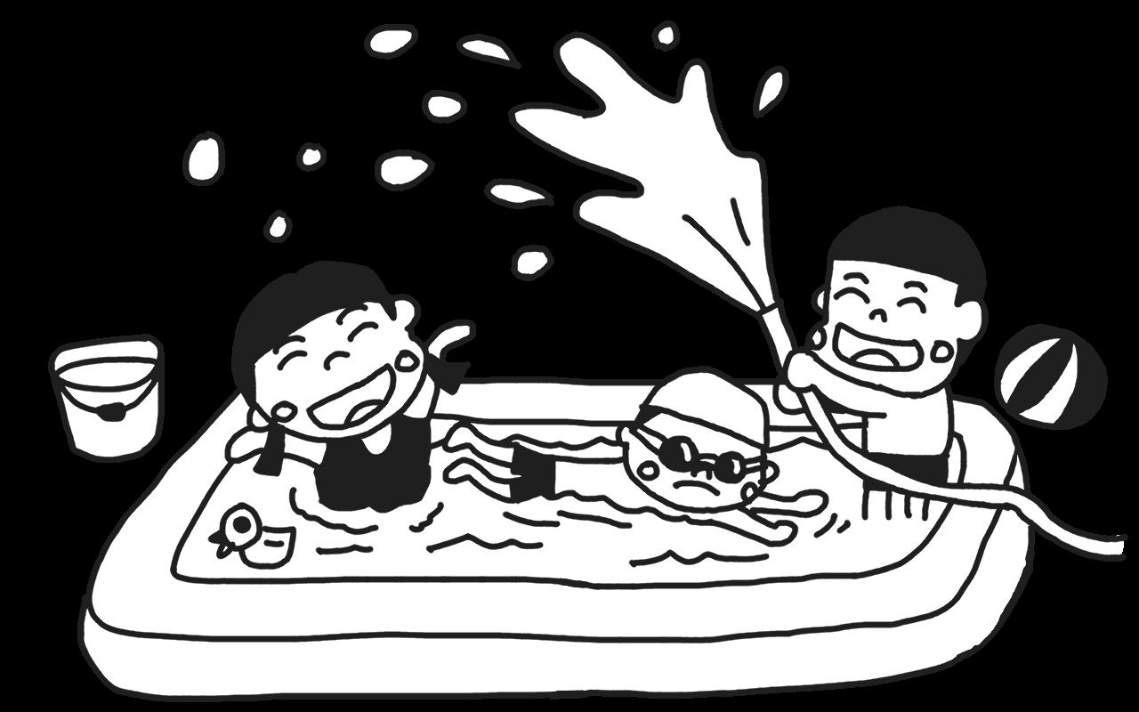 水遊びをする子どものイラスト
