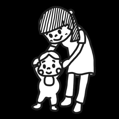 よちよち歩きする赤ちゃんと保育士さんのイラスト