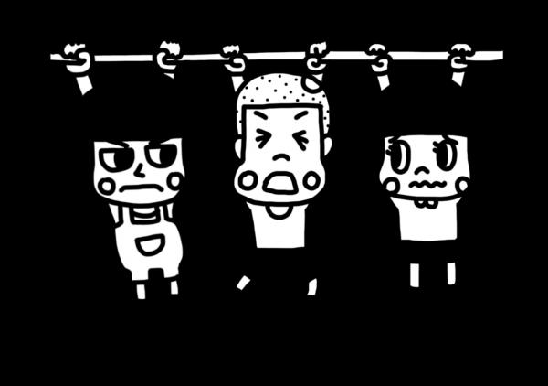鉄棒でぶら下がり競争をする子どものイラスト 白黒ヤギさん フリー素材