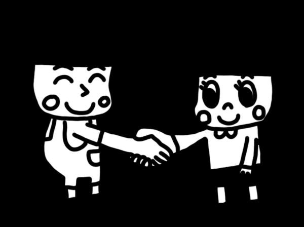 握手をする子どものイラスト