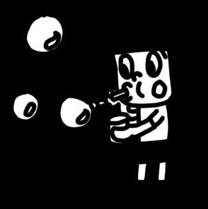 シャボン玉で遊ぶ女の子のイラスト