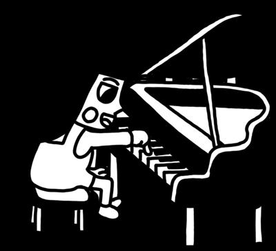 ピアノを弾く女の子のイラスト 白黒ヤギさん フリー素材イラスト