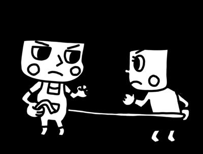 ロープで引き相撲を遊ぶ子どものモノクロイラスト1