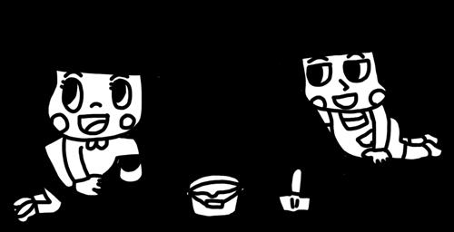 砂場で山に穴を掘って遊ぶ子どものイラスト 白黒ヤギさん フリー素材