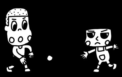 手打ち野球を遊ぶ子どものイラスト