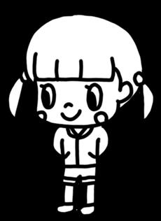 ツインエールの女の子のイラスト 白黒ヤギさん フリー素材イラスト