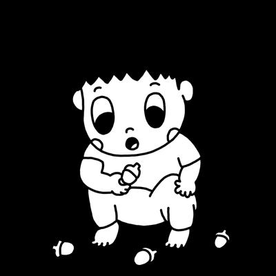 どんぐりを見つめる幼児のモノクロイラスト