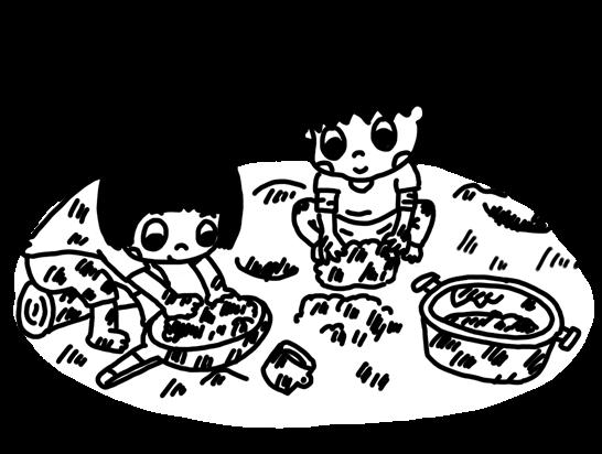 泥遊びをする子どものイラスト