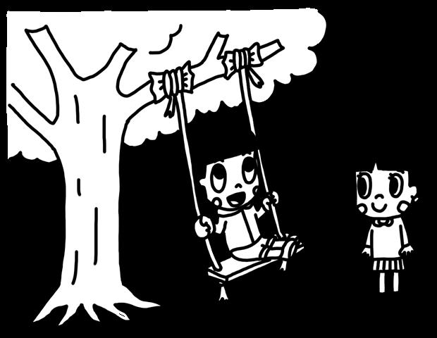 木に吊るしたブランコで遊ぶ子どものイラスト 白黒ヤギさん フリー素材