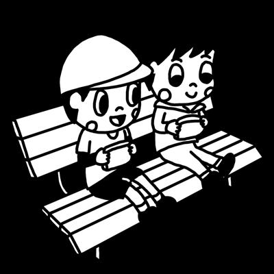 公園のベンチでゲームをする子どものモノクロイラスト