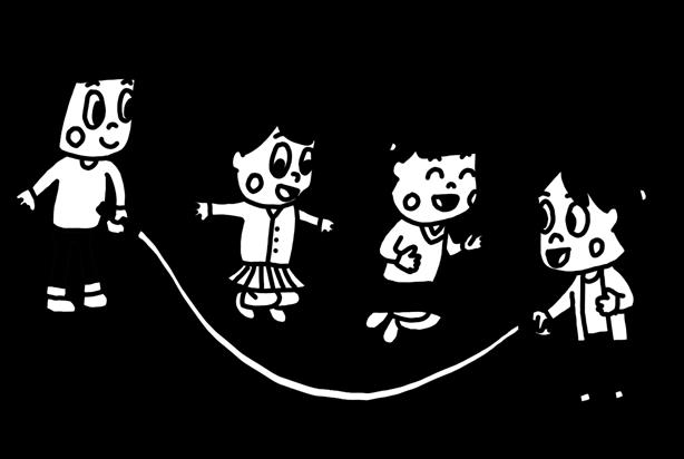大縄跳びを遊ぶ子どものイラスト