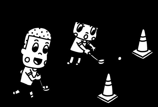 お玉リレーを遊ぶ子どものイラスト