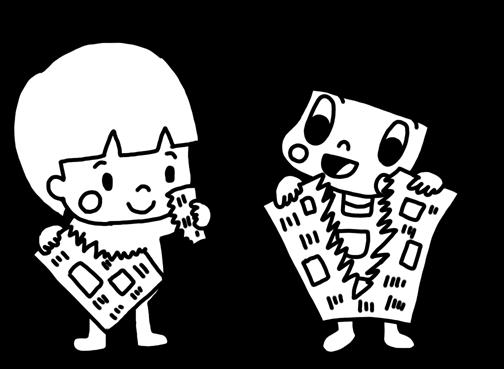 新聞紙を破る子どものイラスト