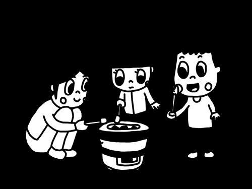 七輪でマシュマロを焼く子どものモノクロイラスト
