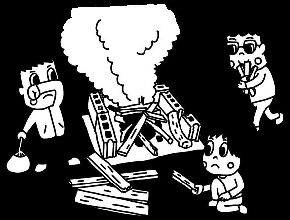 焚火をする子どものイラスト