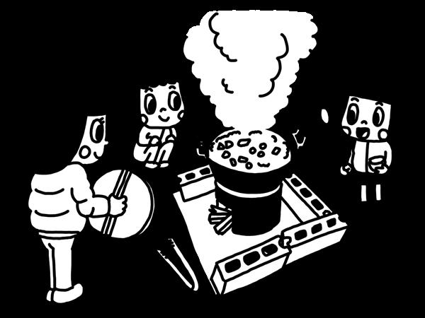焚火でなべ料理をする子どものモノクロイラスト