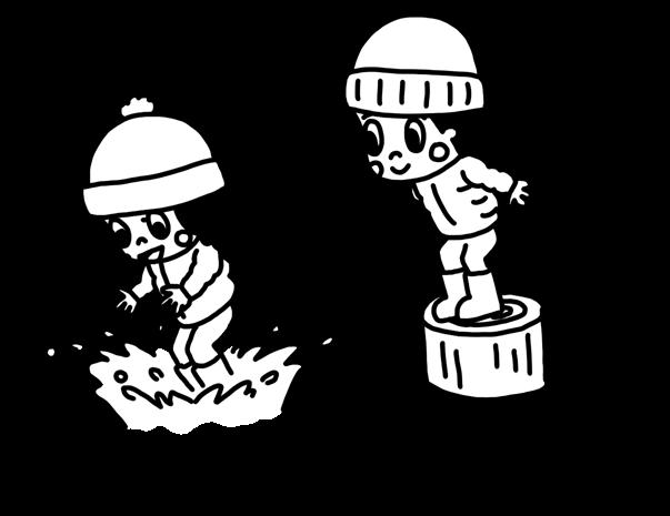 水たまりに飛び込む子どものモノクロイラスト