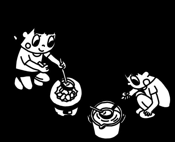七輪でべっ甲飴を作る子どものイラスト