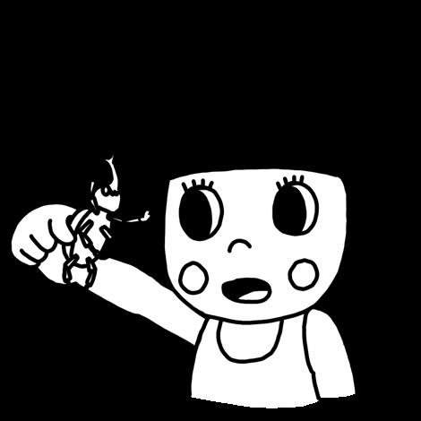 カブトムシを見つめる子どものイラスト