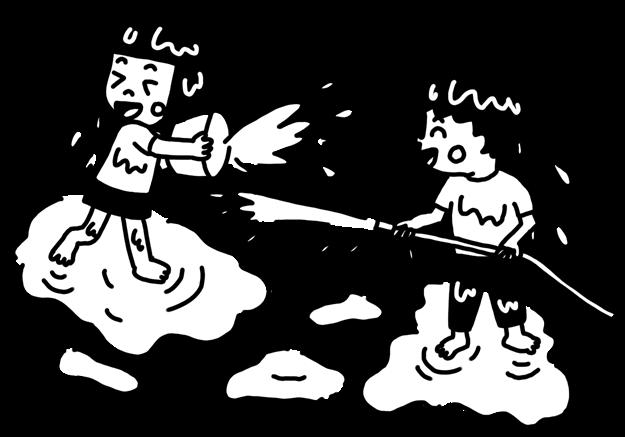 水をかけあって遊ぶ子どものモノクロイラスト