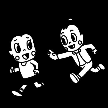 鬼ごっこをして遊ぶ子どものイラスト