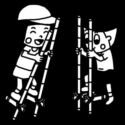 竹馬で遊ぶ子どものモノクロイラスト