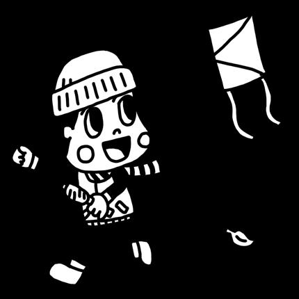 凧あげをして遊ぶ子どものイラスト