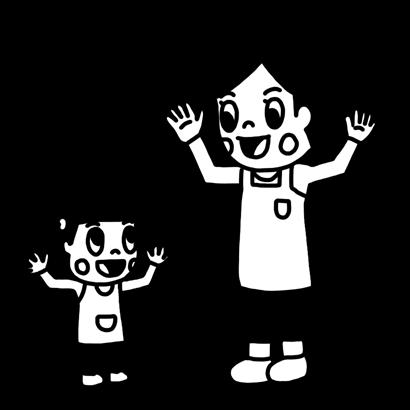 歌に合わせて手遊びをする子どものイラスト