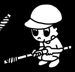 棒巻きパンを焼く男の子のイラスト