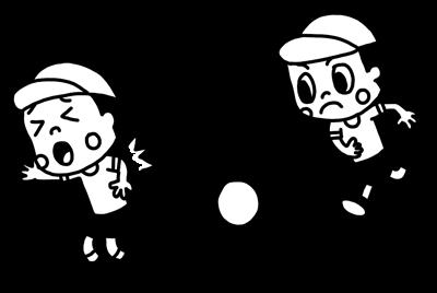 ドッジボールで遊ぶ子どものモノクロイラスト