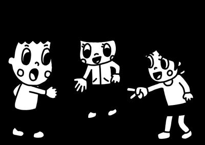 じゃんけんをして遊ぶ子どものモノクロイラスト