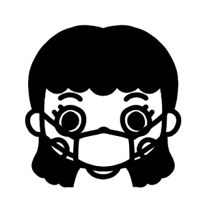 マスク姿の女性のモノクロイラスト