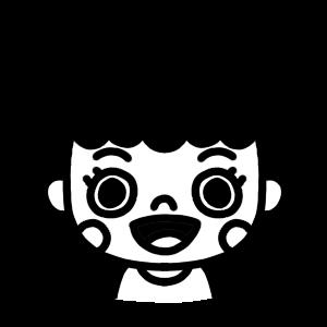 口を開ける女性のモノクロアイコンイラスト