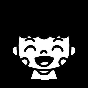 笑顔の女性のモノクロアイコンイラスト