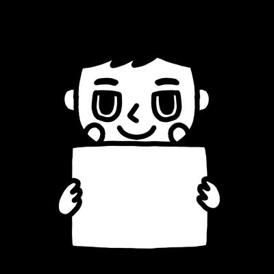 メッセージボードを持った男性のモノクロイラスト