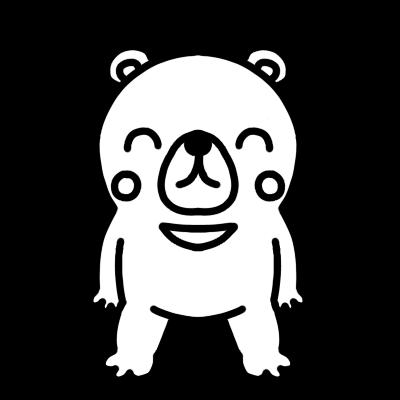 笑っているクマのモノクロイラスト