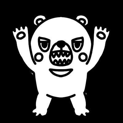 襲いかかるクマのモノクロイラスト