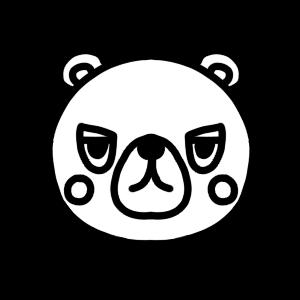 クマのモノクロアイコンイラスト